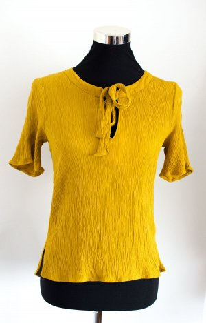 H&M Tie-neck Blouse dark yellow