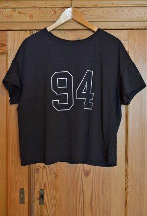 H&M HM Sport M 36/38 Shirt Sportshirt 94 schwarz kurz kastig crop oversize