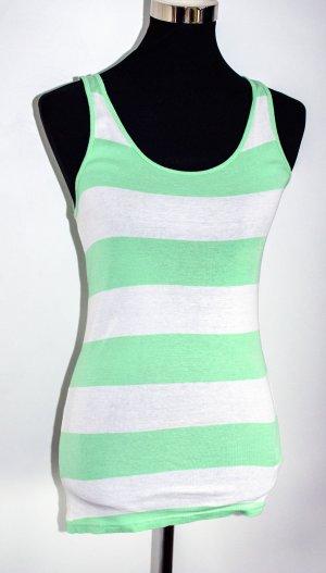 H&M HM Top Tanktop grün-weiß, Gr. 36 /S, ungetragen
