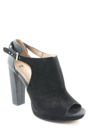H&M Chaussure à talons carrés noir imprimé reptile