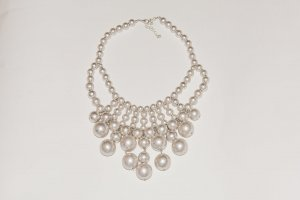 H&M Collier Necklace light grey synthetic material