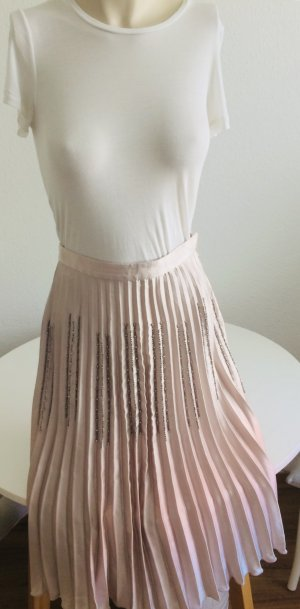 H&M Falda a cuadros color rosa dorado tejido mezclado