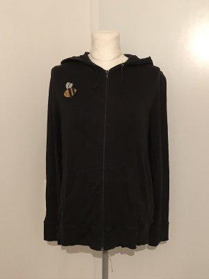 H&M Hoodie Pullover Gr.L schwarz mit Patch Zip-Jacke