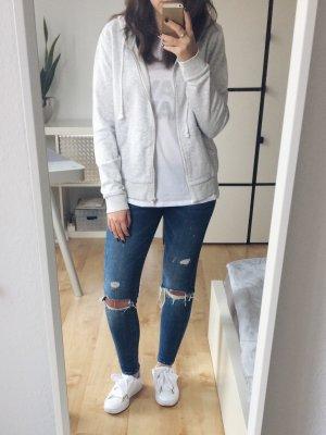 H&M Chaqueta con capucha gris claro-blanco puro