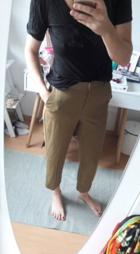 H&M Hose Highwaist Oliv Ankle Slacks 38