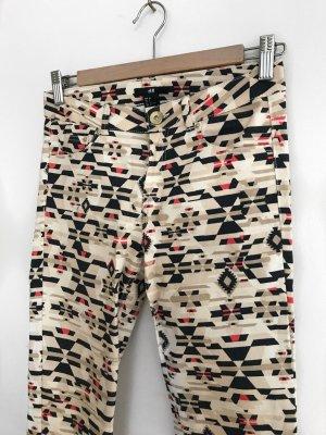 H&M Hose in beige/schwarz/rot
