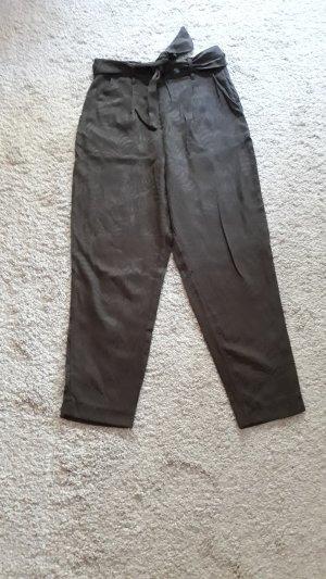 H&M Pantalon 7/8 gris vert viscose