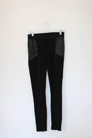 H&M Hose Lederdetails Vintage Look schwarz Blogger Stretch Gr. S Leggings