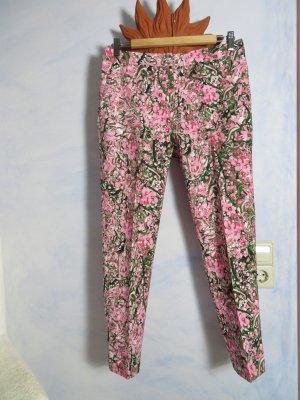 H&M Hose Rosa Geblümt Pastell Elegant Schmal Floral Muster 38 M Sommerhose Bügelfalte