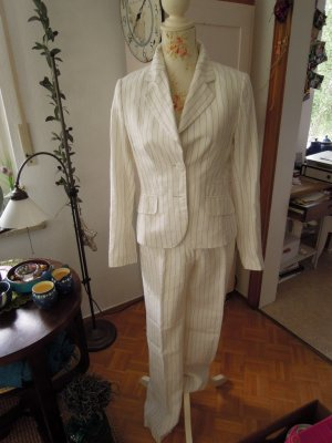 H&M Pinstripe Suit white-black linen