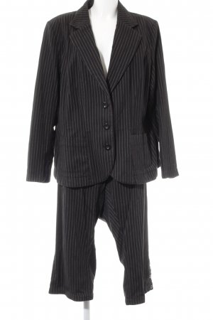 H&M Trouser Suit black-oatmeal striped pattern business style