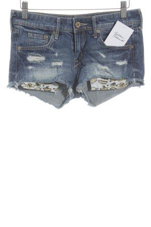 H&M Hot Pants stahlblau-dunkelblau Animalmuster extravaganter Stil