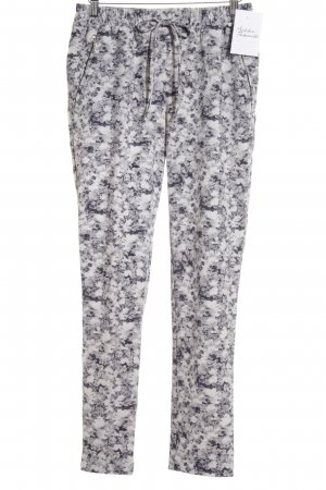 H&M Low-Rise Trousers white-dark blue floral pattern athletic style