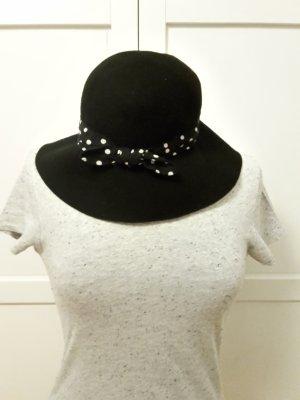 H&M Chapeau cloche noir-blanc laine