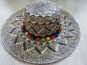 H&M Chapeau de paille noir-blanc cassé