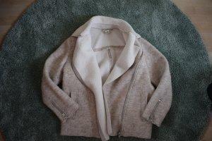 H&M L.O.G.G. Fur Jacket oatmeal-natural white cotton