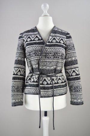 H&M Jacke mit Muster schwarz Größe 38