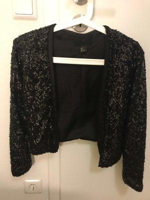 H&M Jacke Pailletten schwarz Größe 34
