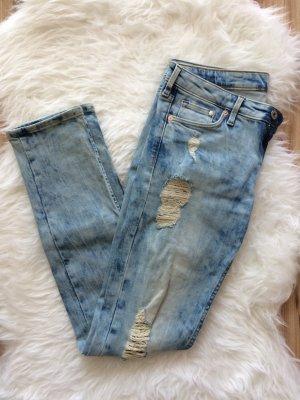 H&M Jeans 38 M neu blau W28 Risse Distressed Used Look Ripped
