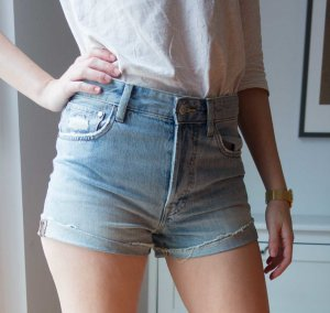 H&M Jeans Denim Hotpants Shorts highwaist Used Look Gr. 38