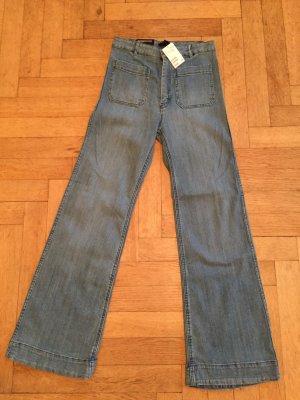 H&M Hoge taille jeans blauw Katoen