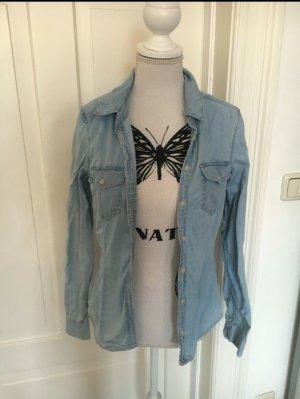 H&M Jeans Hemd Bluse blau Größe 34