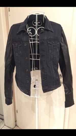 H&M Jeans Jacke mit Lederarmen - schwarz - NEU