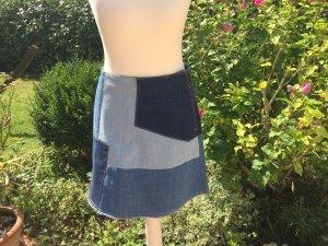 H & M Jeans Rock blau neu 70er 60 er Stil TOP Patchwork A-Linie Retro