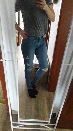 H&M Jeans Slim Fit Röhre Skinny Ripped Off Destroyed Knee Knie 36
