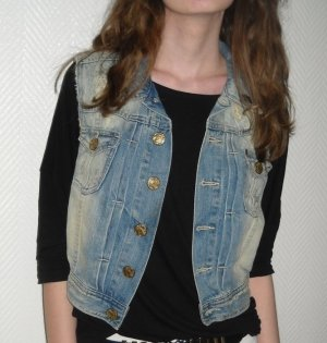 H&M Jeans Weste Nieten Acid moon washed Denim Jacke XS S M 34 36 38 Used