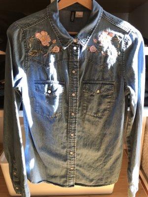H&M Blouse en jean bleuet-rose