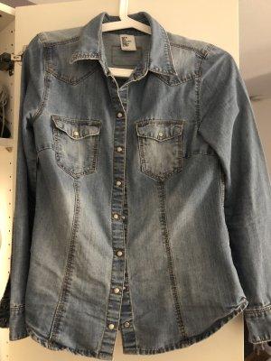 H&M Blouse en jean bleu foncé