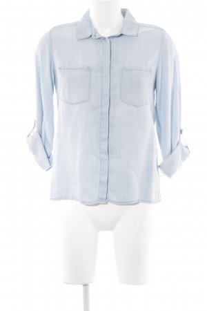 H&M Jeansbluse himmelblau-weiß Washed-Optik
