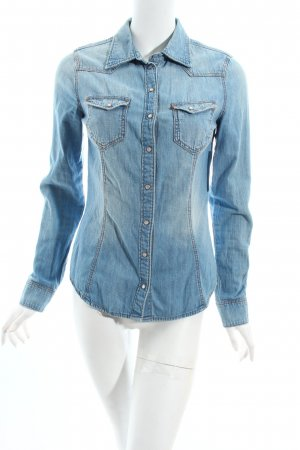 H&M Jeansbluse himmelblau-wollweiß Casual-Look