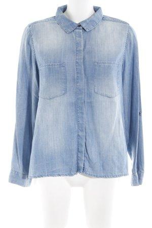 H&M Jeansbluse blau Washed-Optik