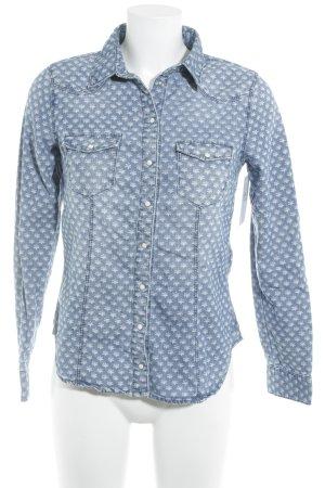 H&M Jeanshemd blau-weiß Allover-Druck Casual-Look