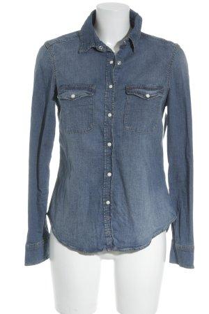 H&M Jeanshemd stahlblau Jeans-Optik