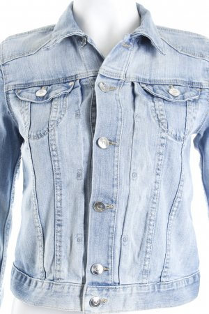 H&M Jeansjacke blau Washed-Optik