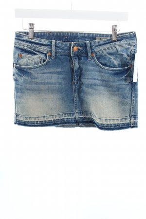 H&M Jeansrock blau-wollweiß Used-Optik