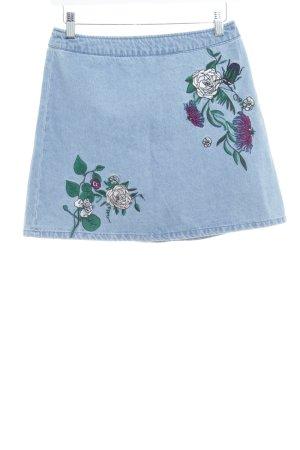 H&M Jeansrock himmelblau Blumenmuster schlichter Stil