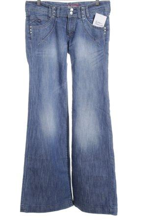 H&M Jeansschlaghose blau-kornblumenblau Casual-Look