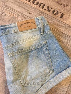 H&M jeansshort denim blau hellblau shorts hotpants
