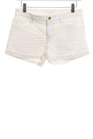 H&M Pantalón corto de tela vaquera blanco puro look casual