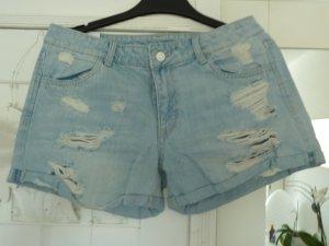 H&M Divided Pantalón corto de tela vaquera azul celeste Algodón