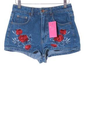 H&M Jeansshorts stahlblau Blumenmuster Boho-Look