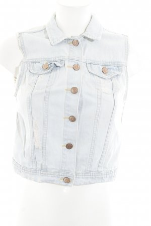 H&M Jeansweste babyblau-wollweiß Used-Optik