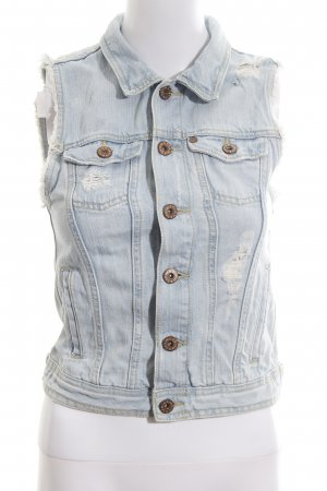 H&M Spijkervest azuur-wolwit casual uitstraling