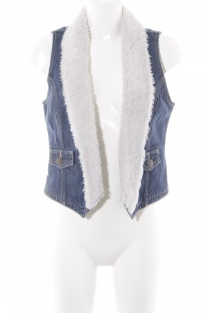 H&M Denim Vest steel blue-white casual look