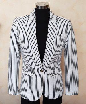 H&M Jersey Blazer Maritim Marine weiß mit blauen streifen 36 Tailliert