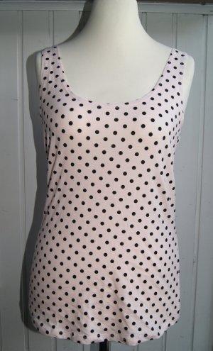 H&M Jersey-Top Tanktop, rosa/schwarz gepunktet, Gr. L Neu